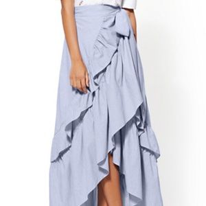 New York&Company Hi Low Ruffle Maxi Skirt Size XXL